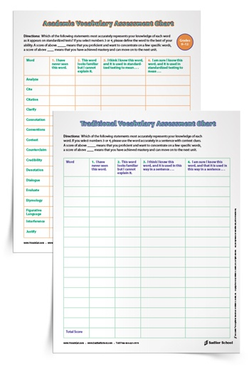 Vocabulary Assessment Worksheets