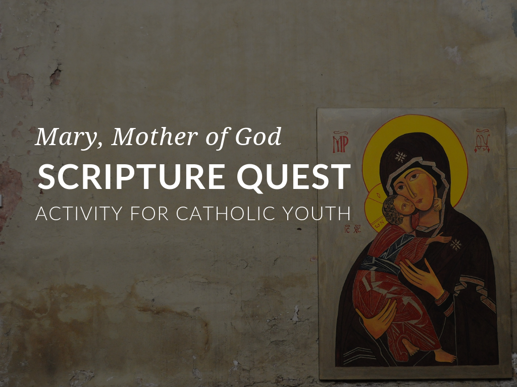 The Mary Scripture Quest Activity will challenge students to find, read, and cite passages from their Bibles related to Mary, Mother of God. Mary was the first to hear about the mission of Jesus, and therefore Jesus' first disciple. Mary's faith came from an understanding of the great gifts that God had given to her, especially the gift of her Son, Jesus. She dedicated her life on earth to following him and showing others how to follow him. Mary is the greatest saint, and our greatest example of discipleship.
