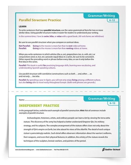 Activities For Parallel Structure Practice Grades 6 12