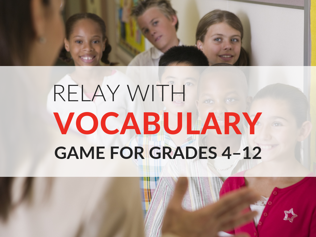The Relay with Words Vocabulary Game gets students moving and provides vocabulary instruction indirectly through play! This interactive vocabulary game encourages students to process topics they are studying more fully, learn vocabulary and generate writing in a different atmosphere. Download this free vocabulary game now!