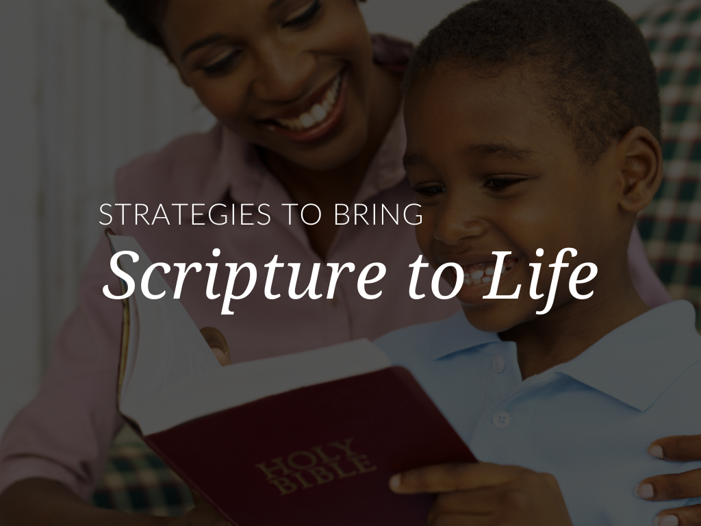 Reading Scripture is an essential part of being Catholic and an integral part of any catechetical program. In this article, you'll explore simple strategies and printable resources that will enliven Catholic Scripture study for children in your religious education program. Plus, all downloads are available in English and Spanish. strategies-to-bring-catholic-scripture-to-life
