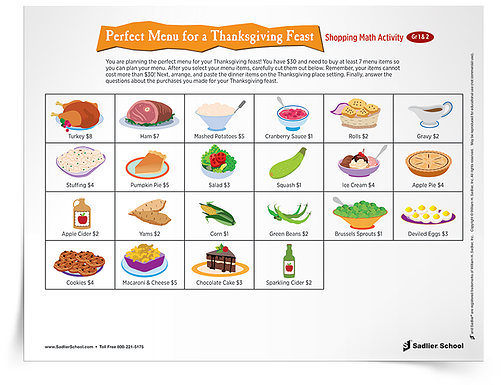 The free Thanksgiving math activities you'll find in this article include word problem worksheets, a fun shopping activity, and a table-setting perimeter worksheet.
