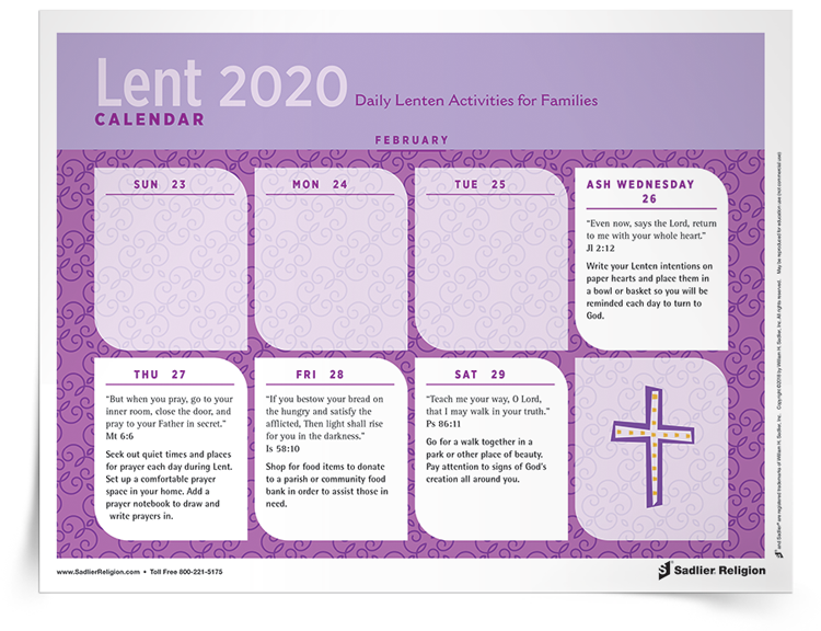 <em>Lenten</em> Calendar