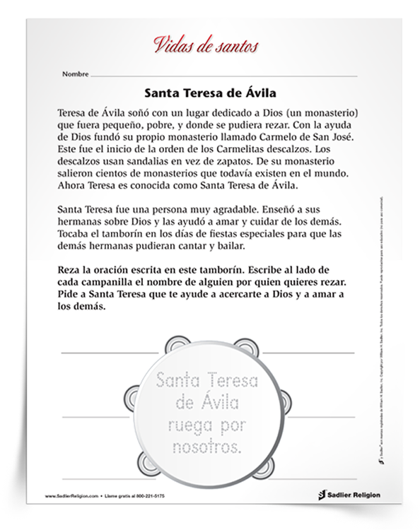 Actividad principal de <em>Santa Teresa de Ávila</em>
