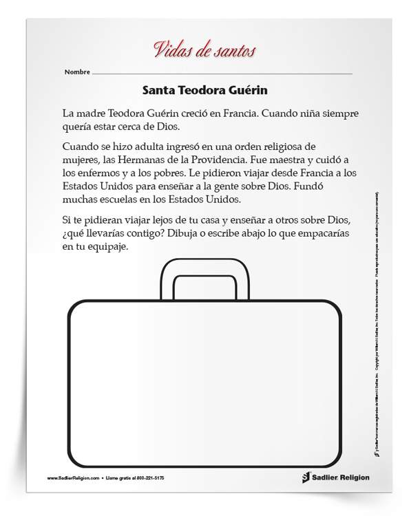Actividad <em>Santa Teodora Guérin</em>