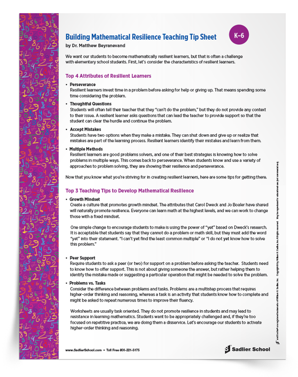 <em>Building Mathematical Resilience</em> Teaching Tip Sheet