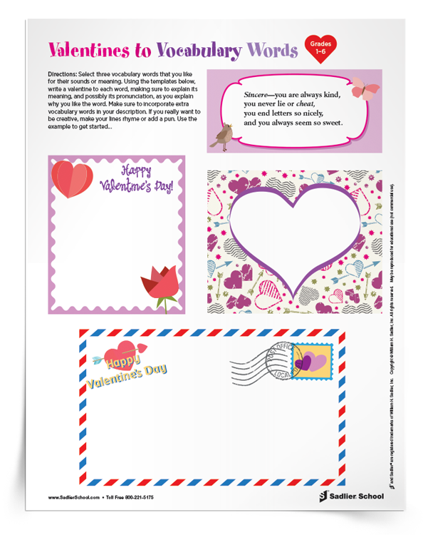 <em>Valentines to Vocabulary Words</em> Activity