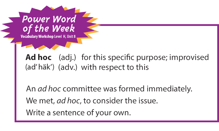 power word of the week ad hoc