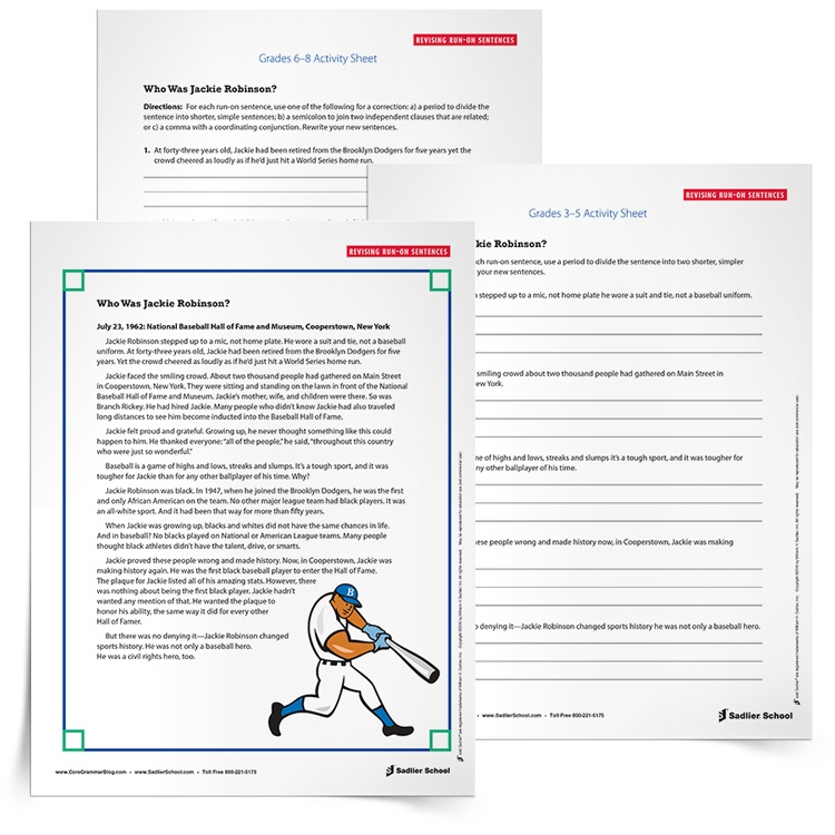 Run-on Sentence Practice Activity for Students, Grades 3–8