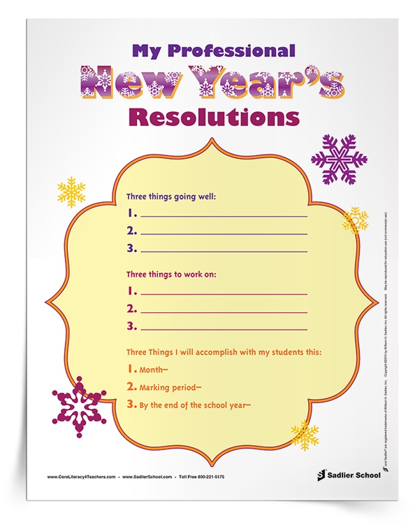 <em>My Professional New Year's Resolutions</em> Worksheet