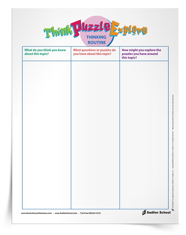 <em>Think–Puzzle–Explore</em> Graphic Organizer