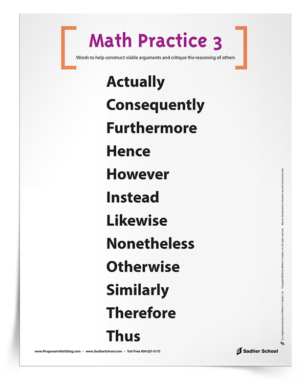 <em>Math Practice 3: Vocabulary to Construct Viable Arguments and Critique the Reasoning of Others</em> Poster