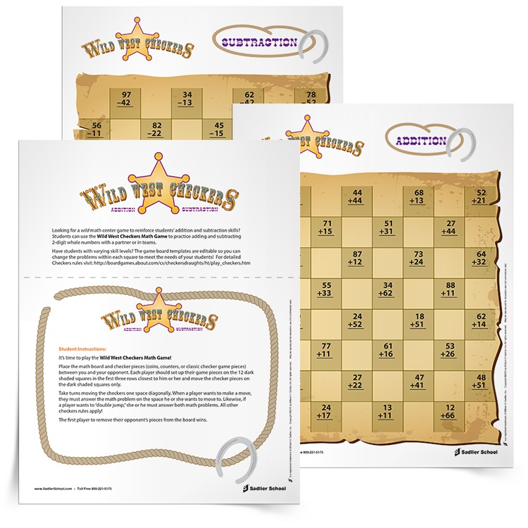 Wild West Checkers Math Game