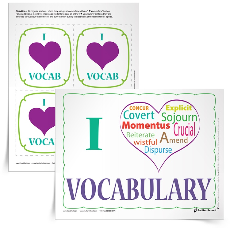"<em>""I ♥ Vocabulary""</em> Buttons & Handout"