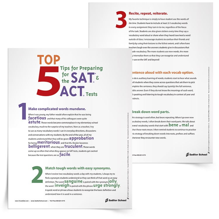 <em>Top 5 Tips for Preparing for the SAT®* and ACT®</em> Tip Sheet