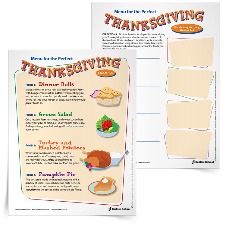 <em>Menu for the Perfect Thanksgiving</em> Vocabulary Activity