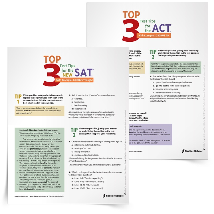 <em>Top 3 Test Tips for the NEW SAT and ACT Tests</em> Tip Sheets