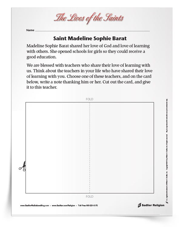 <em>Saint Madeline Sophie Barat</em> Activity