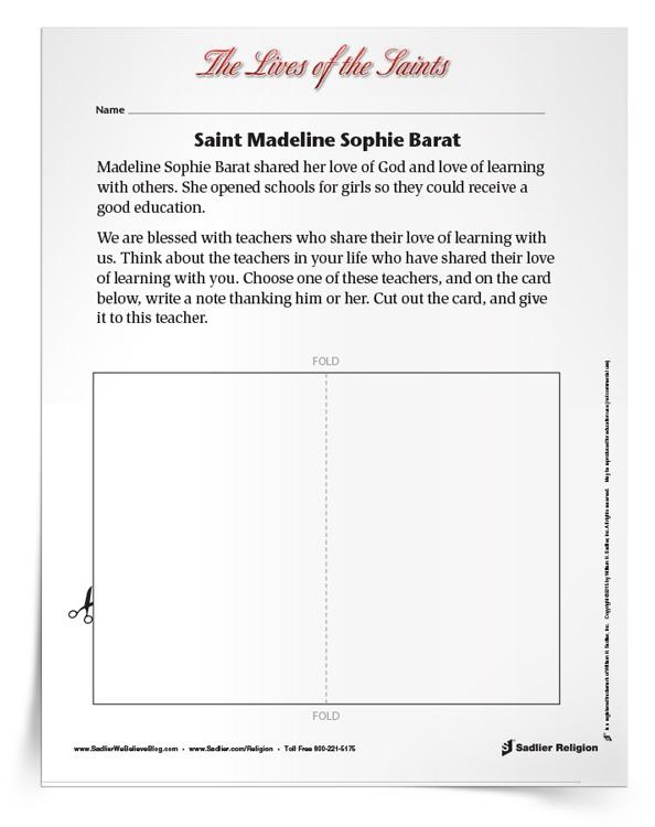 <em>Saint Madeline Sophie Barat</em> Activity