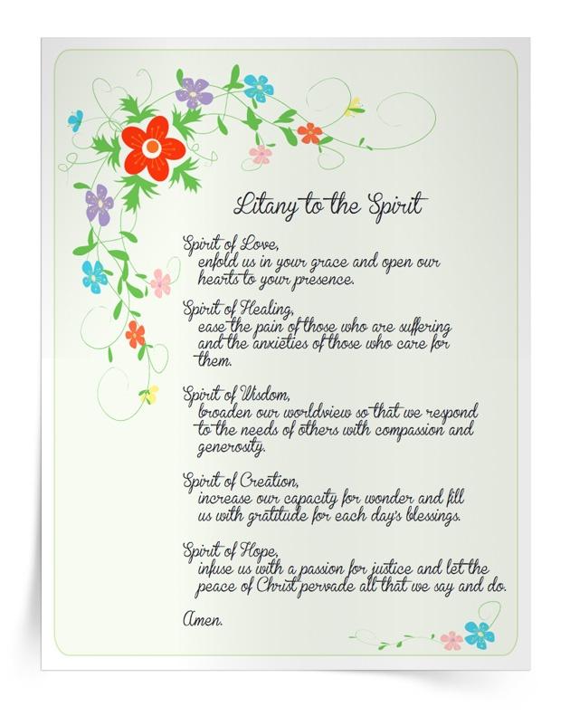 <em>Litany to the Spirit</em> Prayer Card